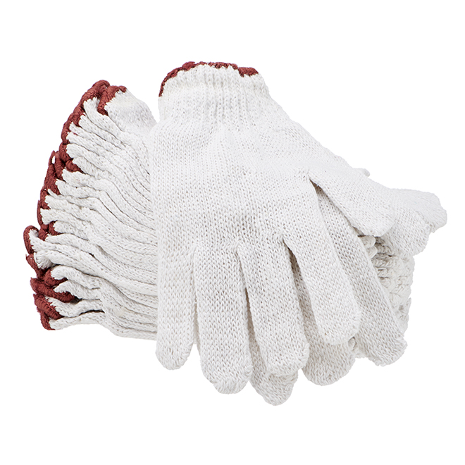 Men's Polyester/Cotton Work Gloves - White - L - 12 Pairs