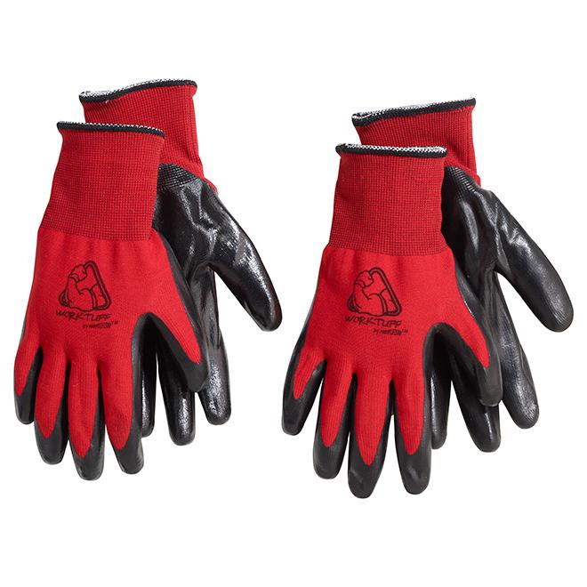 Gants d'hiver enduits de nitrile, homme, rouge, M-G, 2 paires