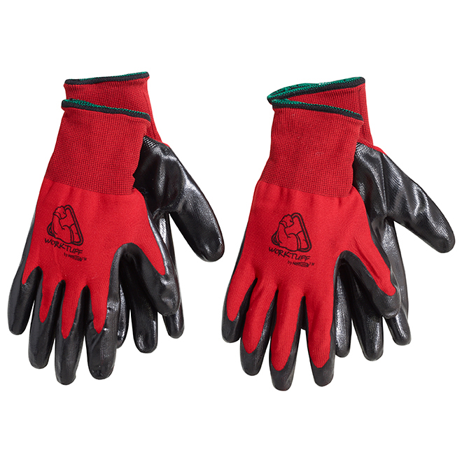 Men's Nitrile Coated Winter Gloves - Red - L-XL - 2 Pairs