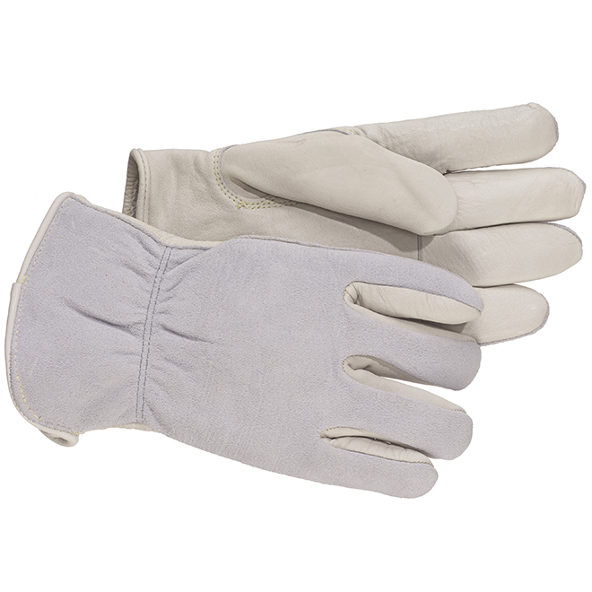 Leather Work Gloves - XL Size - Grey and White