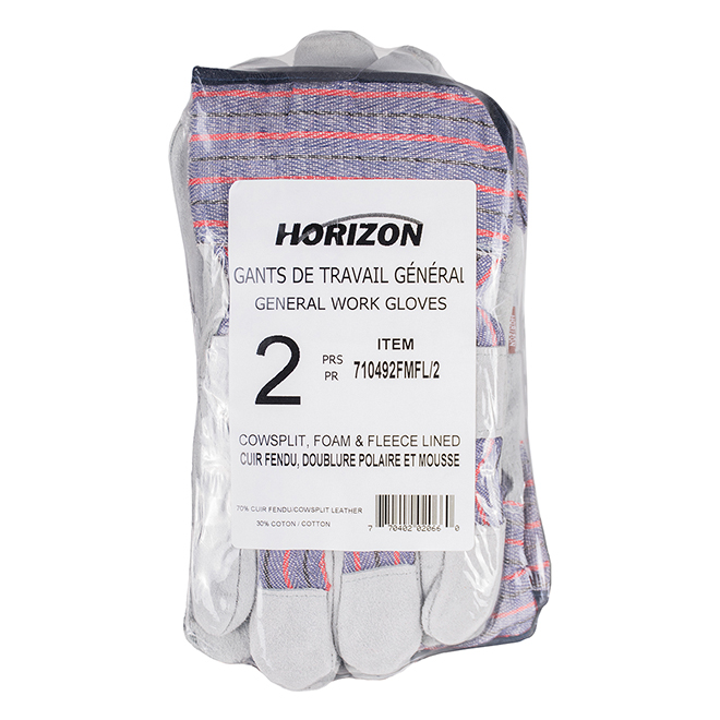Striped Leather Work Gloves - Large Size - Pack of 2
