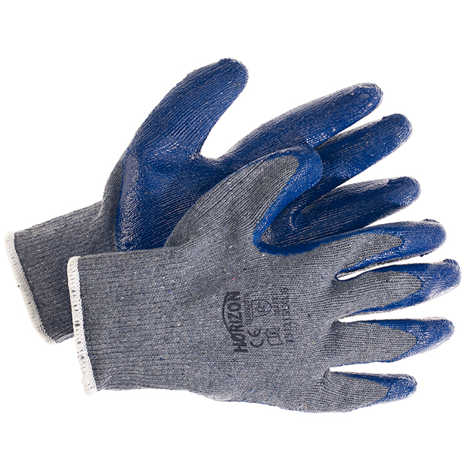 Latex Dipped Gloves - L/XL Size - Grey and Blue - Pack of 6