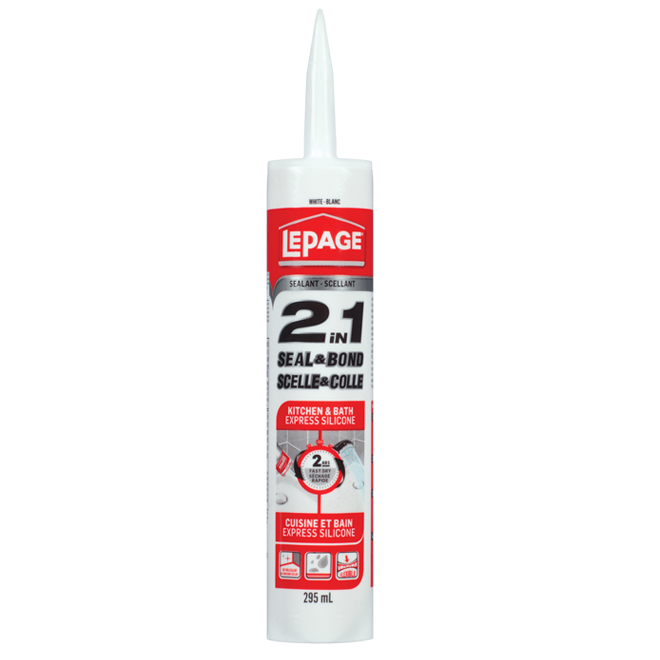 LePage Sealant 2 in 1 Express Silicone - White - 295 mL