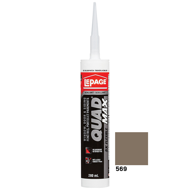QUAD MAX Sealant - Doors and Windows - 280 mL - Pewter