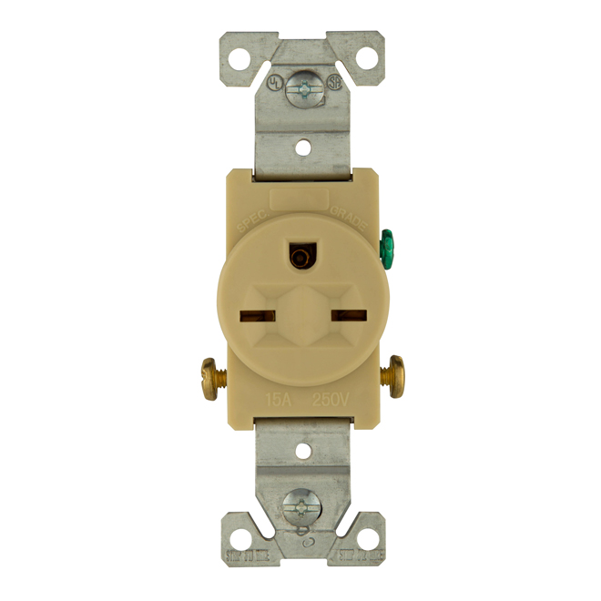 Single electrical receptacle - 15 A - 250 V - Ivory