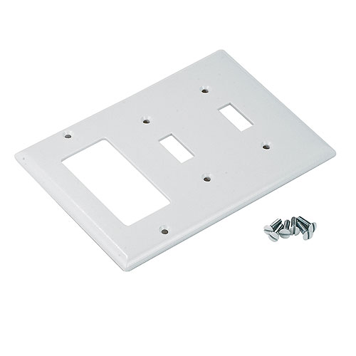 Combined Wall Plate - 2 Toggle + 1 Decorator - Standard - White