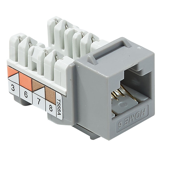 Snap-in-Jack for Modem and Fax - Category 6 - Grey