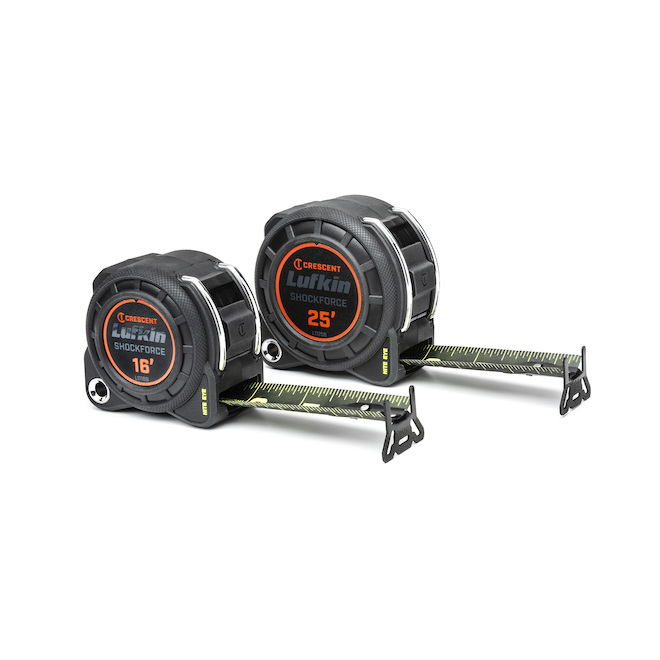 Rubans à mesurer Lufkin Shockforce Nite Eye, 16 pi et 25 pi, 2/pqt