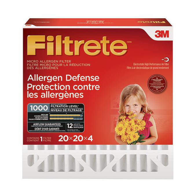"""Filtre pour fournaise en fibre de verre, 20"""" x 20"""" x 4"""", rouge"""