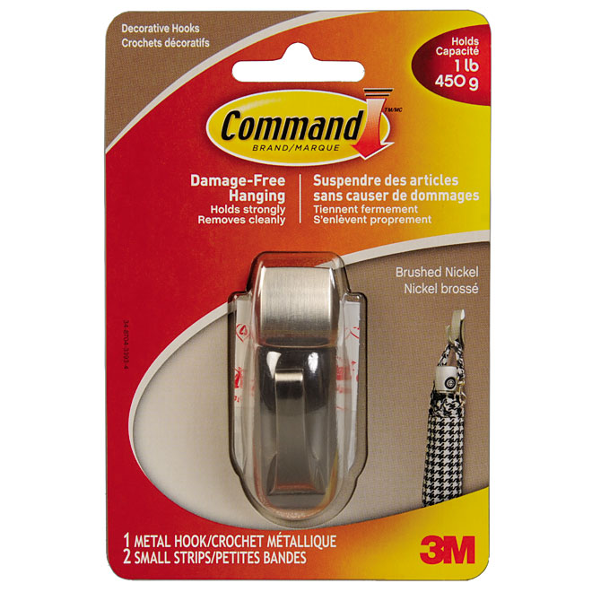 Command Modern Metal Decorative Hook Brushed Nickel 1 Lb Mr01 Bn
