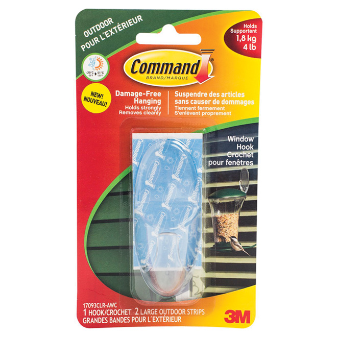 Large Clear Window Hook and Adhesive Strips