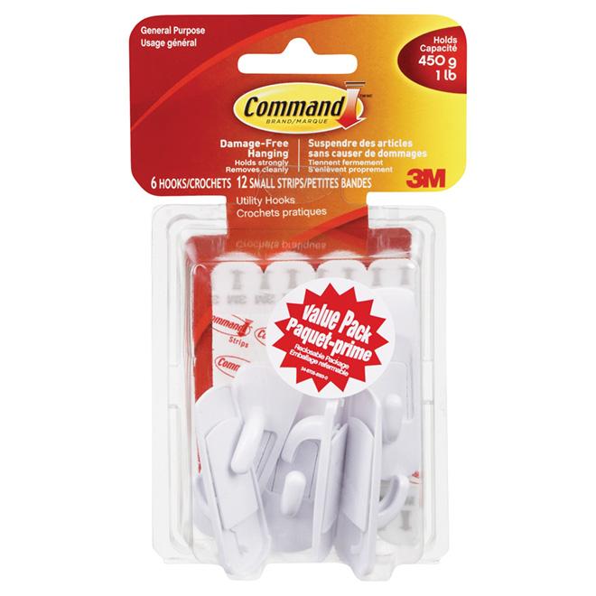 Command Hooks - Small - White - 18/PK