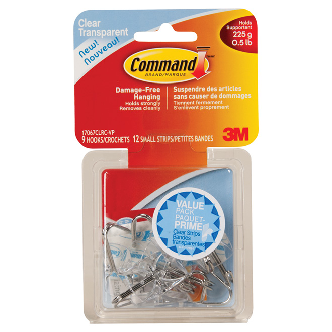 Self-Adhesive Hooks - 21 pieces - Clear