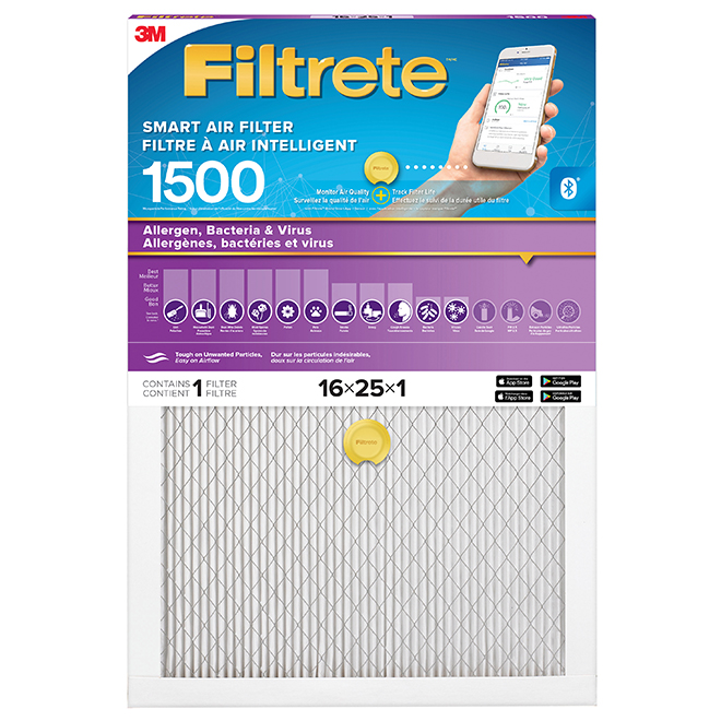 """Filtre à air intelligent, 16"""" X 25"""" X 1"""", 1500 MPR"""