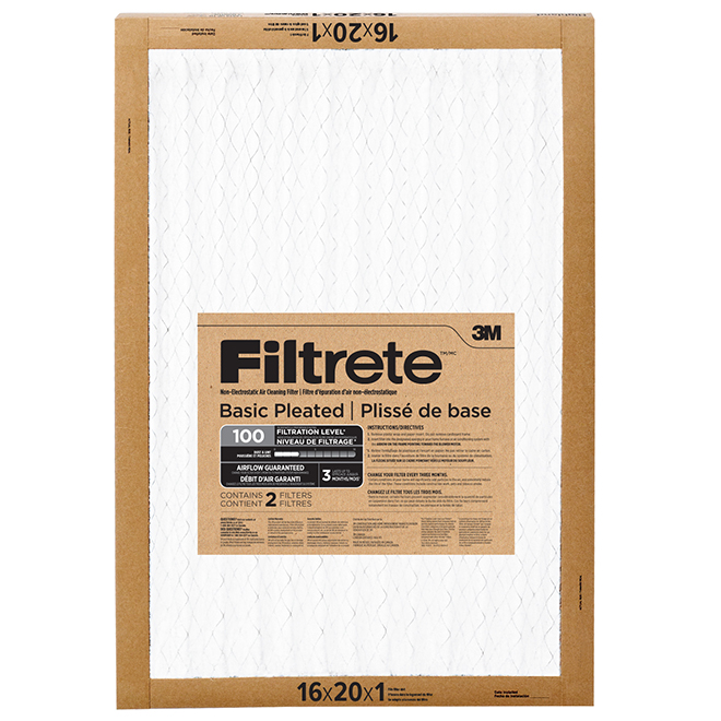"""Basic Pleated Air Filter - 16"""" X 20"""" - 2/Pack"""