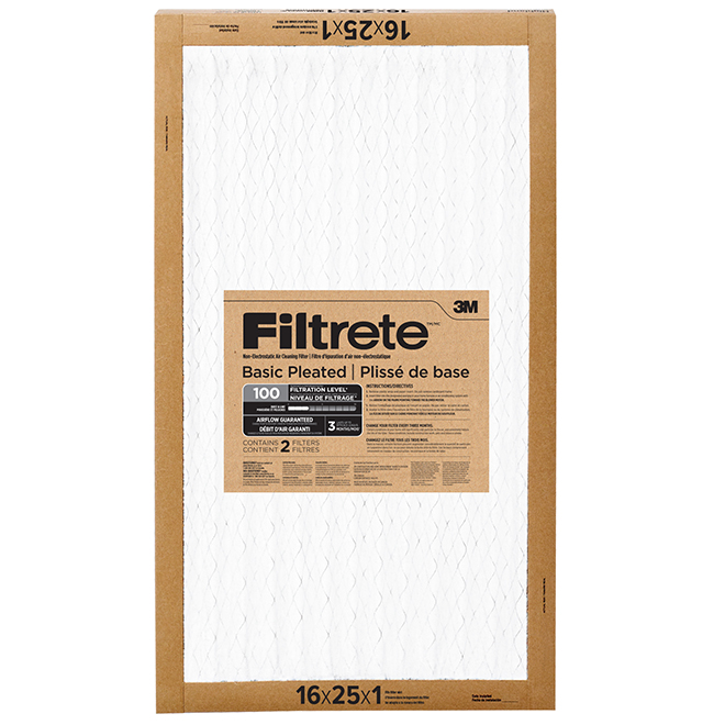Filtrete Basic Pleated Air Filter - 16-in X 25-in - 2/Pack