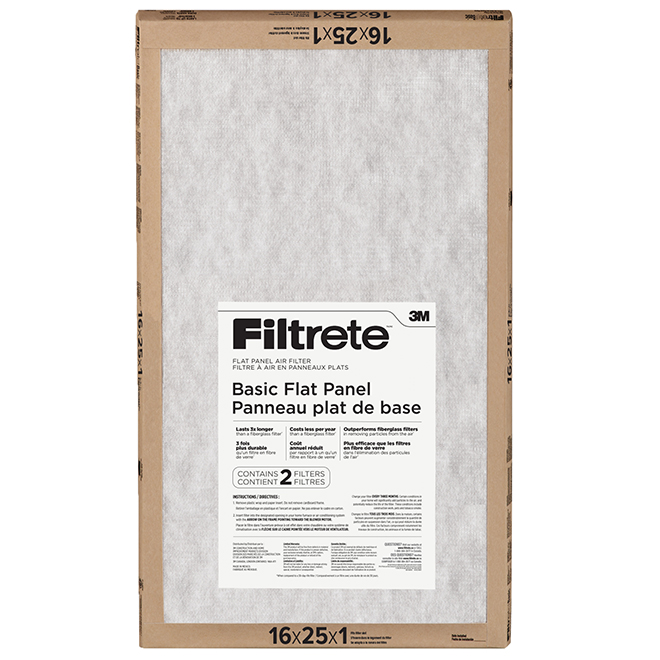 Non-Electrostatic Basic Air Filters - 16 x 25 x 1'' - 2/Pack