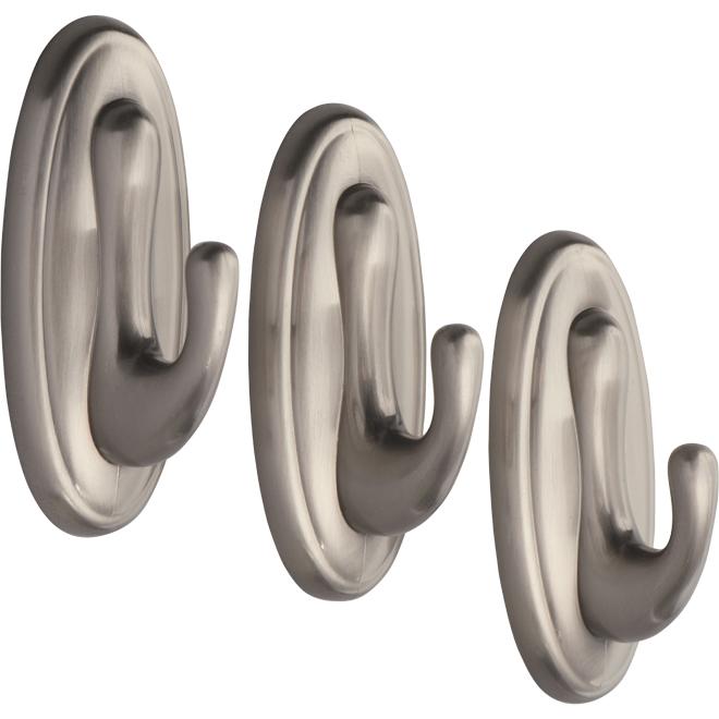 Self-Adhesive Traditional Hook - Brushed Nickel - 3 Hooks