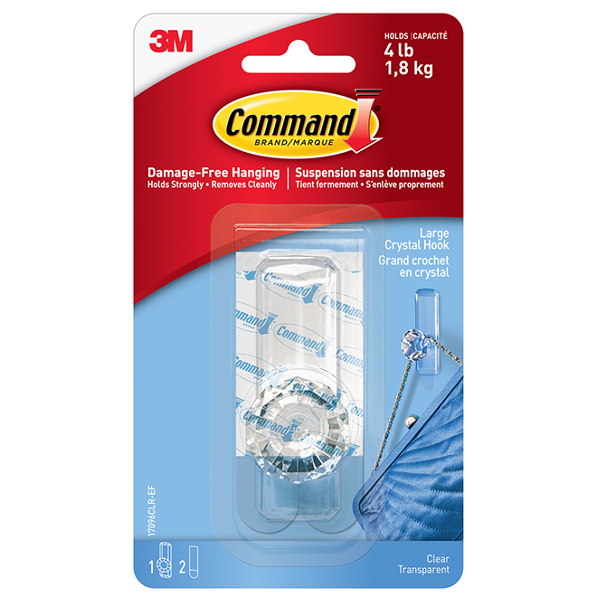 Crystal Knob Hook - Large - Clear - 1/Pack