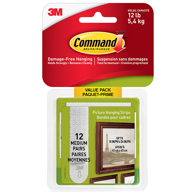 Picture Hanging Strips - Medium-Sized - 12/Pack