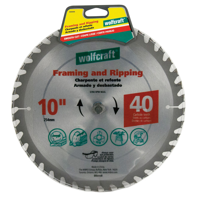 "Framing Circular Saw Carbide Blade - 10"" x 40TH"