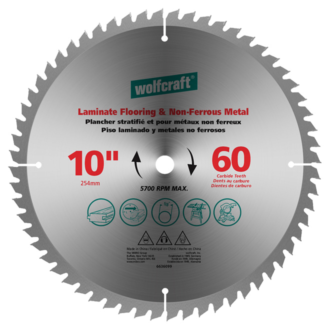"Laminate/Non-Ferrous Carbide Blade - 10"" - 60TH"