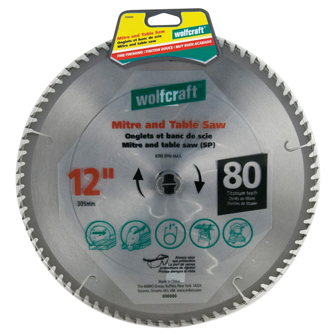 "Mitre and Table Saw Titanium Blade - 12"" - 80TH"