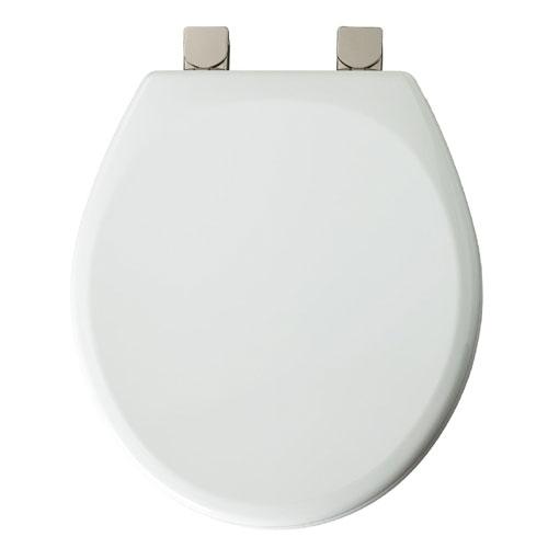 Siège de toilette en bois moulé Mayfair, blanc, charnières en nickel brossé