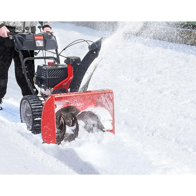 """Souffleuse à neige à 2 phases, 208 cc, 24"""", rouge et noir"""