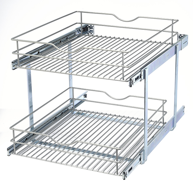 """Double-Tier Wire Multi-Use Basket - 20"""" - Frosted Nickel"""