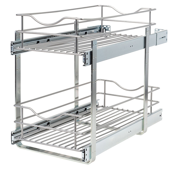 Real Solutions Double Pull-Out Basket - 11-in - Frosted Nickel