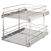 "Real Solutions Pull-Out Basket - Double - 17"" - Frosted Nickel"
