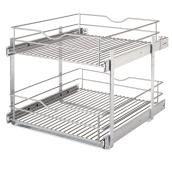 "Real Solutions Pull-Out Basket - Double - 20"" - Frosted Nickel"