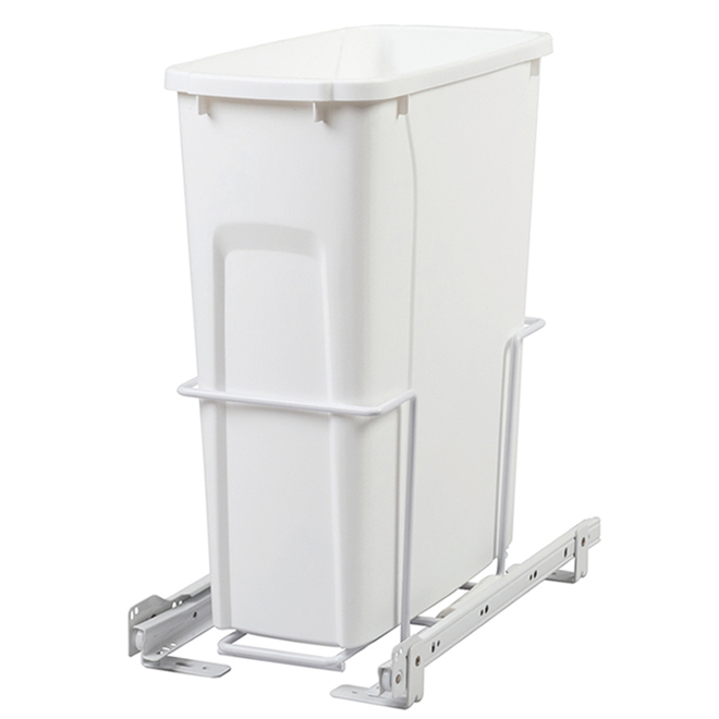 Poubelle coulissante simple Real Solutions, 19 litres, blanc