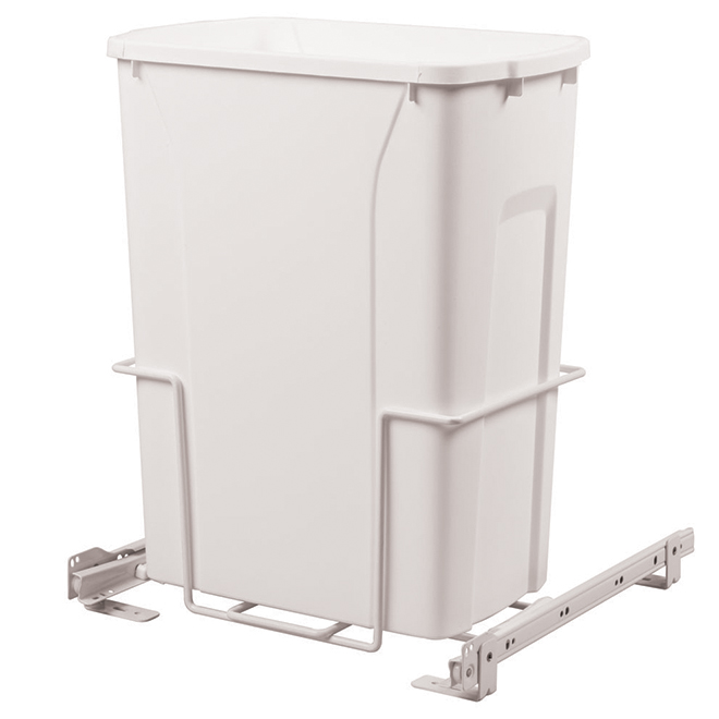 Poubelle coulissante simple Real Solutions, 33 litres, blanc