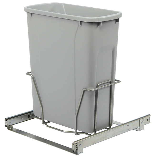 Poubelle coulissante simple Real Solutions, 18 litres, platine