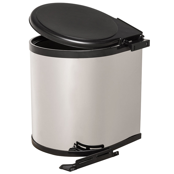 Real Solutions Swivel Garbage Can - 12 L - Chrome and Black