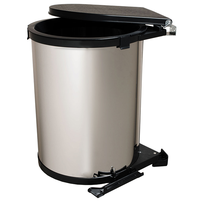 Real Solutions Swivel Garbage Can - 30 L - Chrome and Black