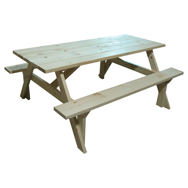 Outstanding Outdoor Picnic Table Pine Wood 6 Long 571 Rona Home Interior And Landscaping Fragforummapetitesourisinfo