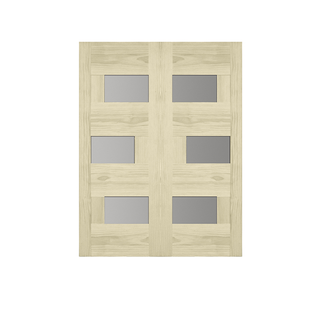 Asymmetrical 3-Panels Pine French Door - 32-in x 80-in x 1 3/8-in - Sandblasted Glass / Natural Pinete French Door