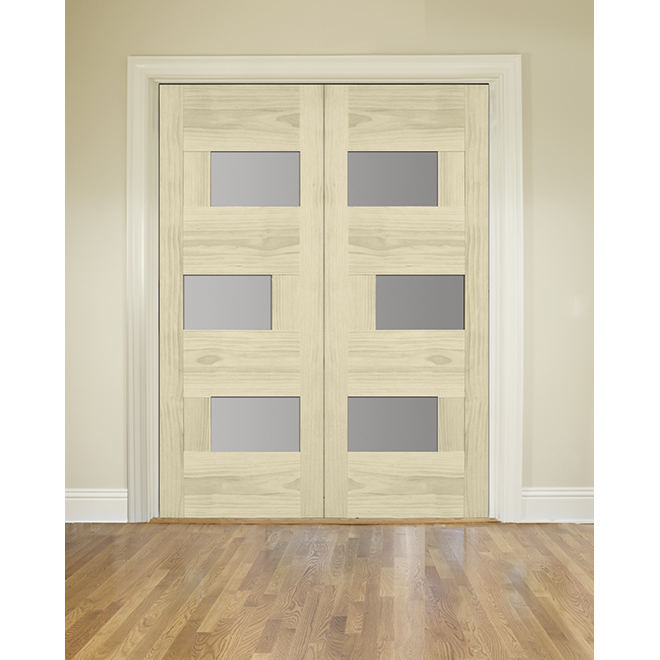 Qingdao Asymmetrical French Door - 3-Panel Sandblasted Glass - Natural Pine - 32-in W x 80-in H
