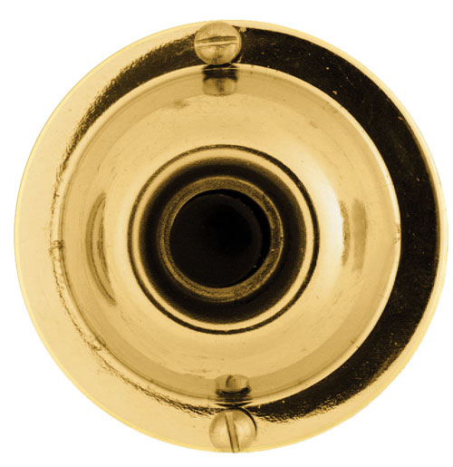 Round Wired Doorchime Button - Solid Polished Brass - 1 3/4''