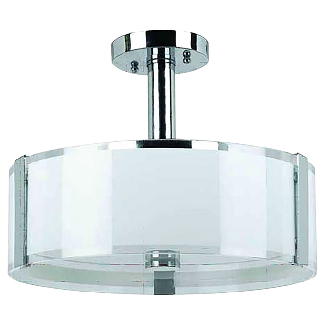 Semi flushmount with glass shade 14 sinclair chrome