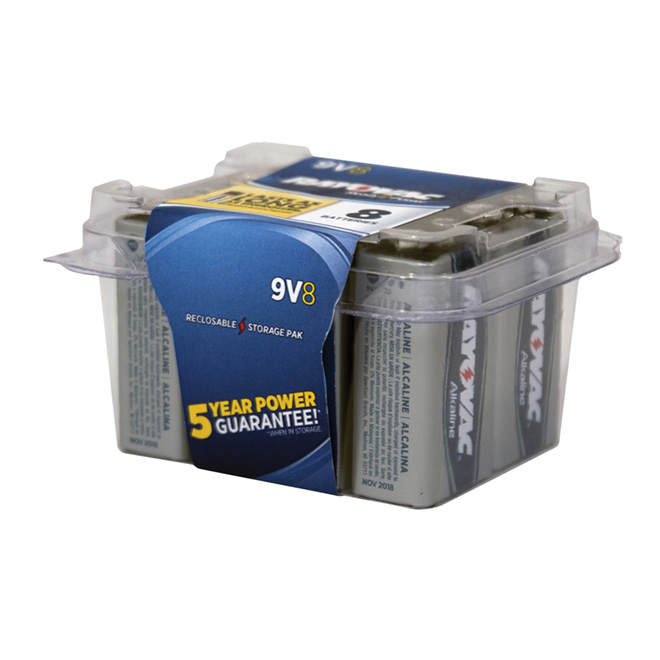 """9V"" Alkaline Batteries - 8 Pack"
