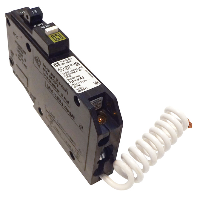 1-Pole 120 V AC CAFCI Circuit Breaker - 15 A Rated