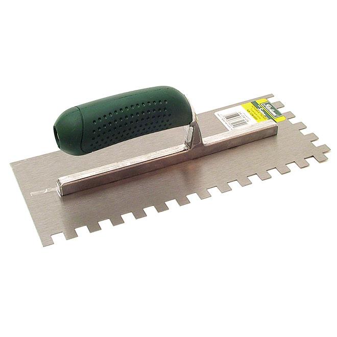 "Adhesive Trowel - Square Notch - 4 1/2"" x 9"" - 1/2"" Teeth"