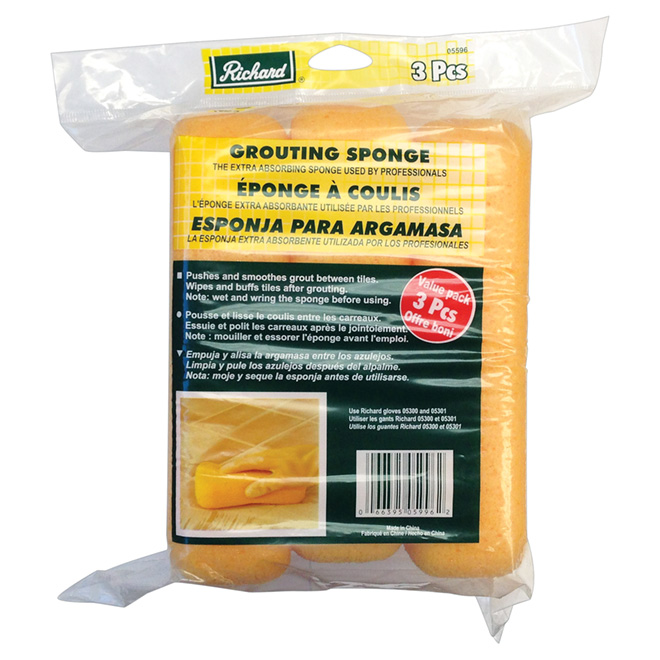 Professional Foam Rubber Grouting Sponge - 3-Pack