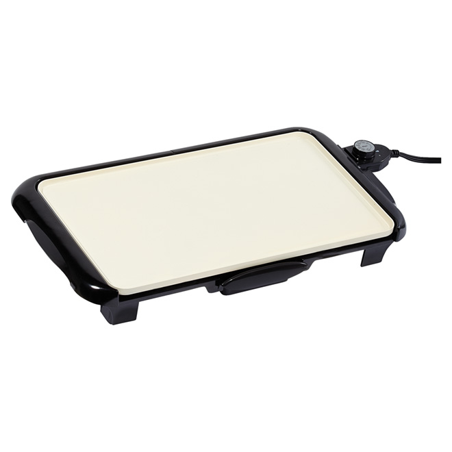 Griddle with Warming Tray - DuraCeramic - Black/White