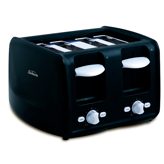 4-Slice Toaster with Retractable Cord - Black