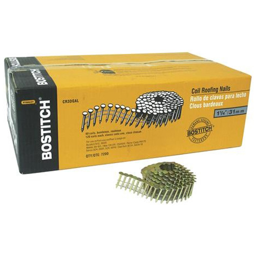 "Roofing Nails - 15° Coil - Galvanized - 1 1/4"" - 60/Box"